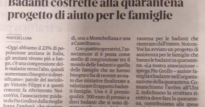 """Progetto """"Assistenza famiglie per quarantena badanti"""""""
